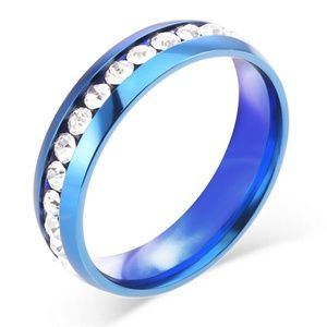 Blue  Stainless Steel  Ring Size 9